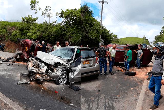 Aparatoso choque en vía alterna a la autopista Medellín – Bogotá dejó dos heridos - Noticias Caracol