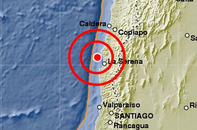 Epicentro terremoto 6,9 grados en Chile, 10 de Noviembre 2015